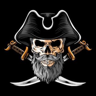 Pirate crâne avec deux épées
