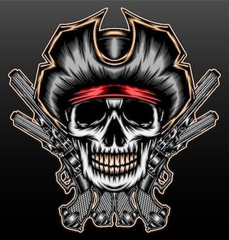 Pirate de crâne de gangster avec pistolet isolé sur fond noir