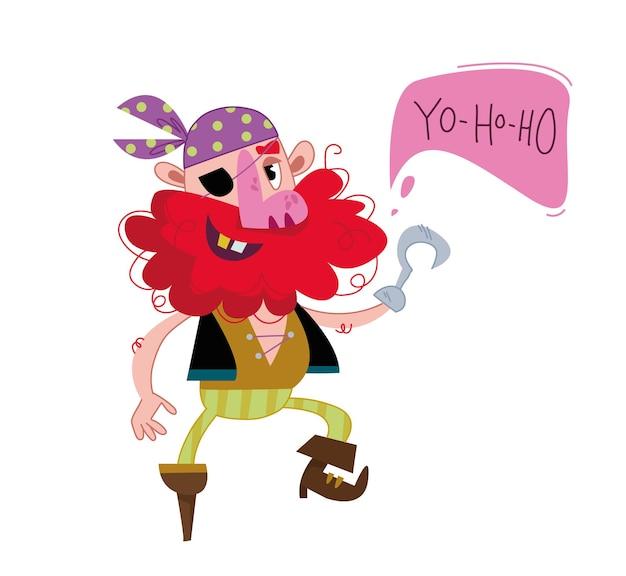 Pirate de dessin animé joyeux avec nuage de texte et lettrage yo ho ho homme unijambiste dans un pirate