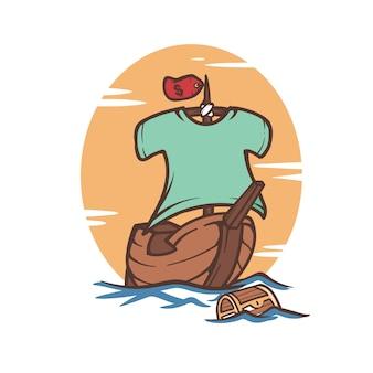 Pirate dessin animé sailling navires illustration