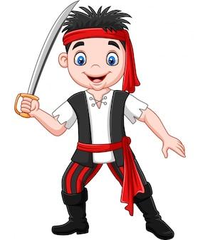 Pirate dessin animé tenant un poignard