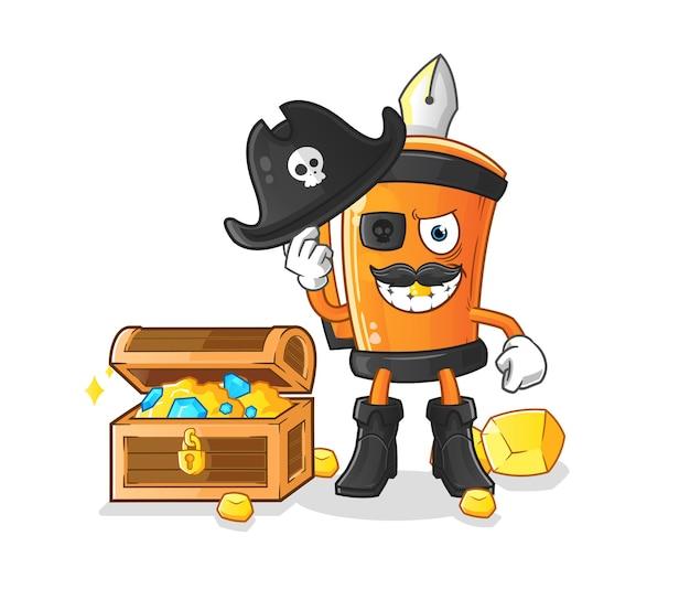 Pirate drôle de stylo avec la conception d'illustration de mascotte de trésor