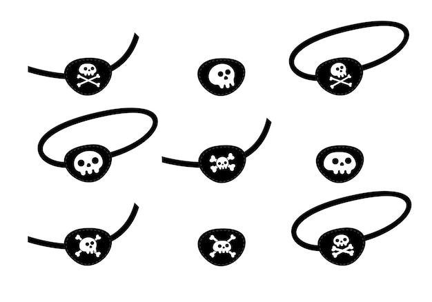 Pirate eye patch icône signe plat style design vector illustration isolé sur fond blanc