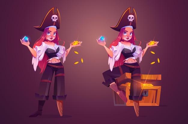 Pirate de fille avec le capitaine féminin de trésor avec la jambe en bois
