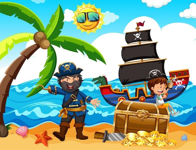 Un pirate et une fille heureuse à l'île