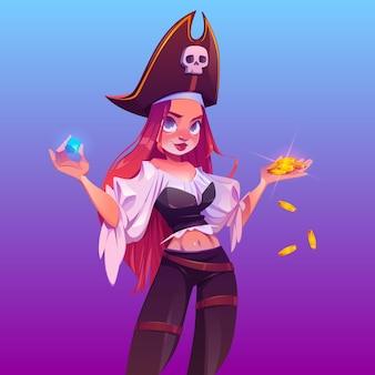 Pirate fille avec trésor, femme capitaine aux cheveux rouges et chapeau avec signe de crâne.