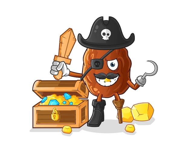 Pirate de fruits de date avec illustration de mascotte de trésor