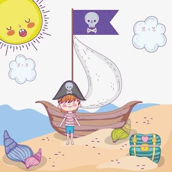 Pirate garçon avec bateau et coffre avec soleil
