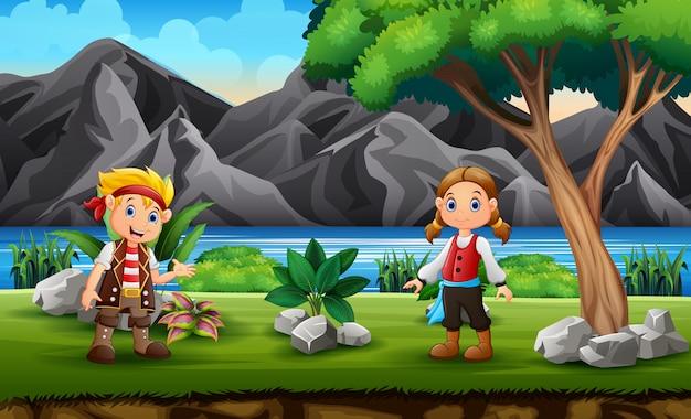 Pirate garçon et fille dans le fond de la nature