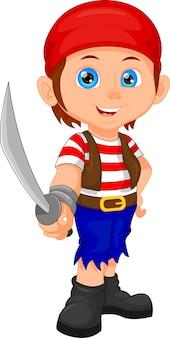 Pirate garçon tenant l'épée