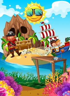Pirate sur une île avec un trésor