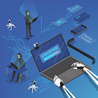 Un pirate informatique attaque des données personnelles sur internet à l'aide d'un ordinateur. cyber criminel. illustration isométrique
