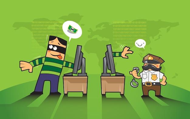 Pirate informatique et le crime sur le concept d'internet.