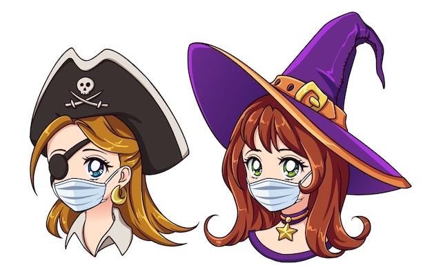 Pirate kawaii et sorcière portant un masque médical isolé sur blanc