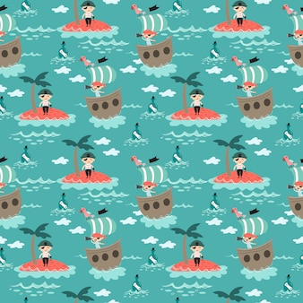 Pirate mignon dans le modèle sans couture de la mer