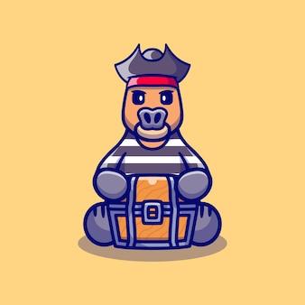 Pirate mignon d'halloween de buffle portant le coffre au trésor