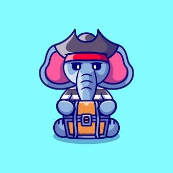 Pirate mignon d'halloween d'éléphant transportant le coffre au trésor