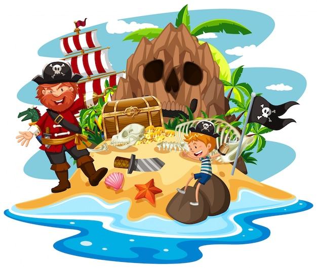 Pirate et petit garçon sur l'île au trésor