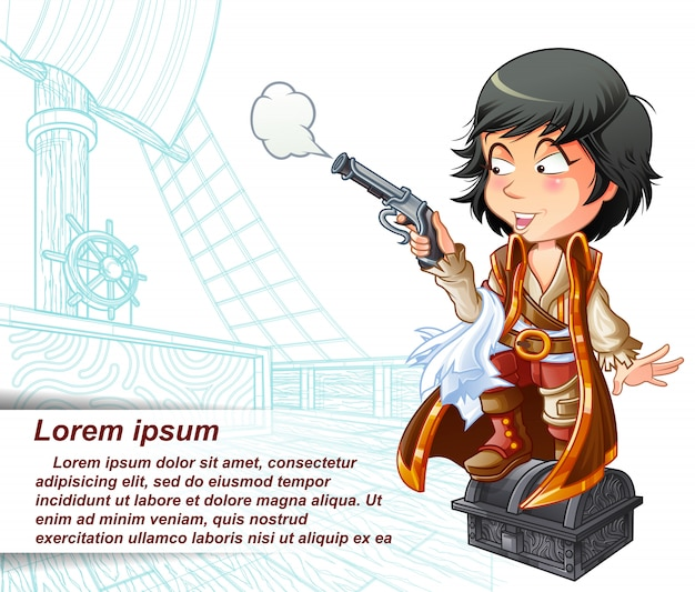 Pirate porte une arme dans un bateau pirate esquissé.