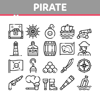 Pirate sea bandit tool collection icons set