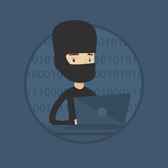 Pirate utilisant un ordinateur portable pour voler des informations.