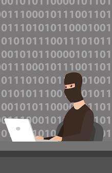 Pirate utilisant un ordinateur portable pour voler des informations
