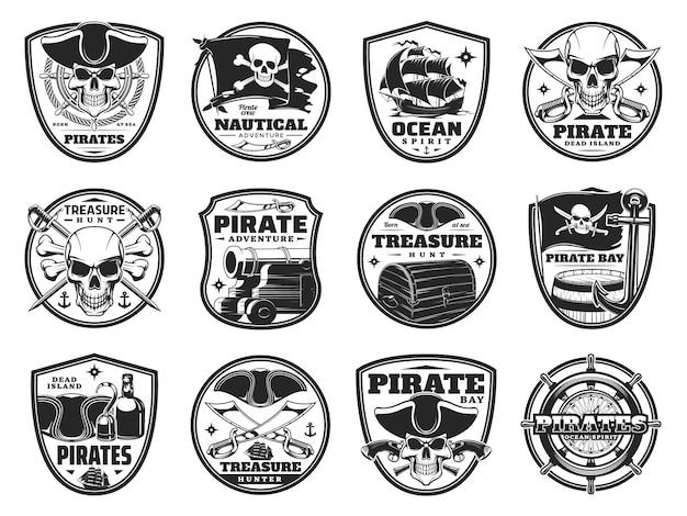 Piraterie et icônes héraldiques pirates, crânes jolly roger ou têtes de squelette, drapeau, canon