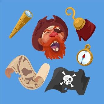 Pirates carte boussole jolly roger drapeau télescope et crochet autocollants à la main