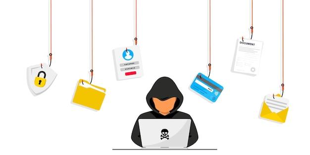 Les pirates et les cybercriminels phishing volent des données personnelles privées, un identifiant, un mot de passe, un document, un e-mail et une carte de crédit. phishing et fraude, escroquerie et vol en ligne. hacker assis au bureau