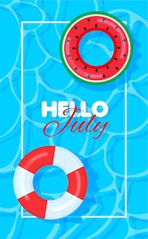 Piscine d'été avec bouées colorées bonjour juillet