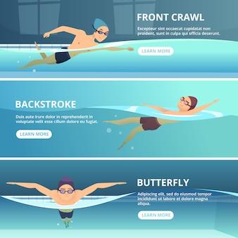 Piscine avec nageurs, bannière horizontale sertie de sport s