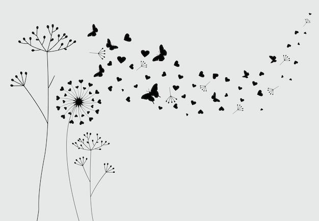 Pissenlit avec papillons volants et graines vector illustration
