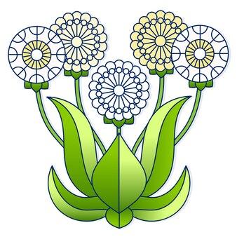 Pissenlits blancs et jaunes clairs avec dessin animé de feuilles vertes sur fond blanc