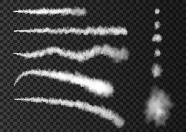Piste d'avion de fumée blanche isolée sur fond transparent