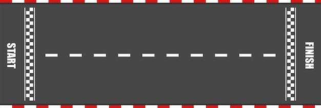 Piste de course avec ligne de départ et d'arrivée pour voiture. courses de karting sur la route asphaltée. modèle de speedway rapide. concept de sport automobile et moto. vue de dessus.