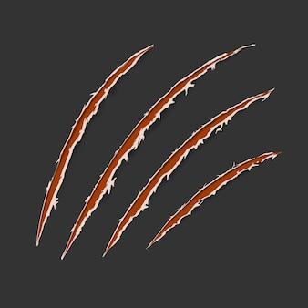 Piste de grattage animal griffes rouges isolée sur fond sombre. illustration vectorielle, eps10. le tigre de chat se gratte en forme de patte. trace de quatre ongles. tissu endommagé. bords déchiquetés.