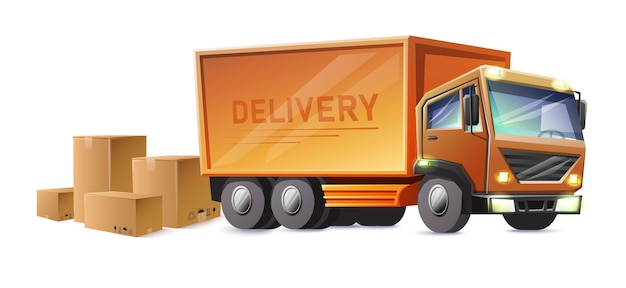 Piste de livraison avec cartons