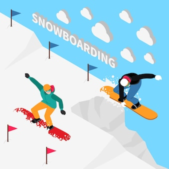 Piste de snowboard isométrique