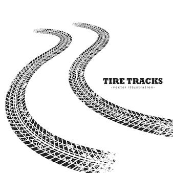 Pistes de pneus routiers sur fond blanc en perspective