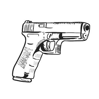 Pistolet dans le style de ligne art