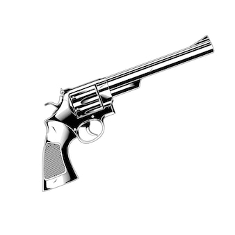 Pistolet de dessin au trait 357 magnum revolver