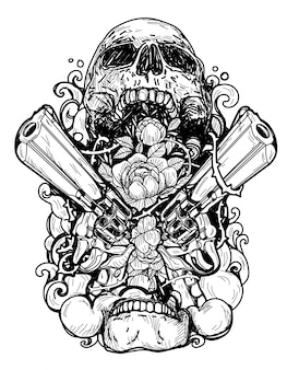 Pistolet et fleurs à l'intérieur du crâne