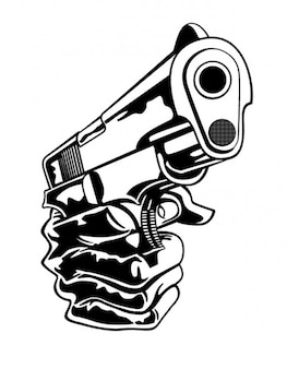 Pistolet en gros plan de la main