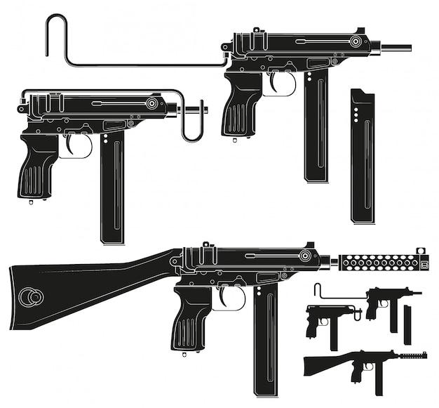 Pistolet mitrailleur silhouette graphique avec clip de munitions