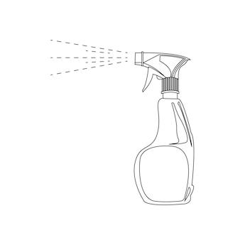 Pistolet pulvérisateur avec agent de nettoyage antiseptique contour noir et blanc