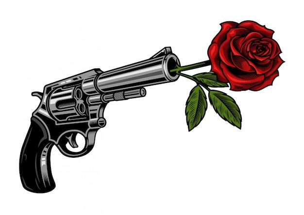 Pistolet avec rose