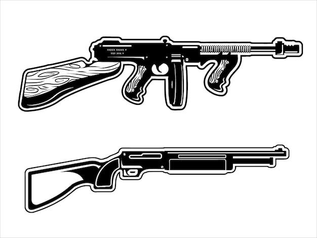 Pistolet thompson et shootgin pack design noir et blanc