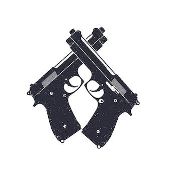 Pistolets modernes croisés, pistolets semi-automatiques sur blanc