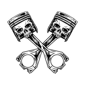 Piston, crâne, dessiné, illustration