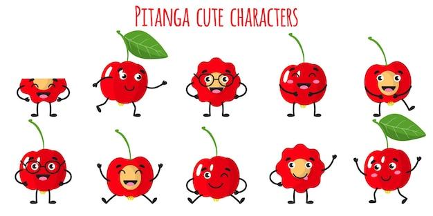 Pitanga fruits mignons personnages gais drôles avec différentes poses et émotions
